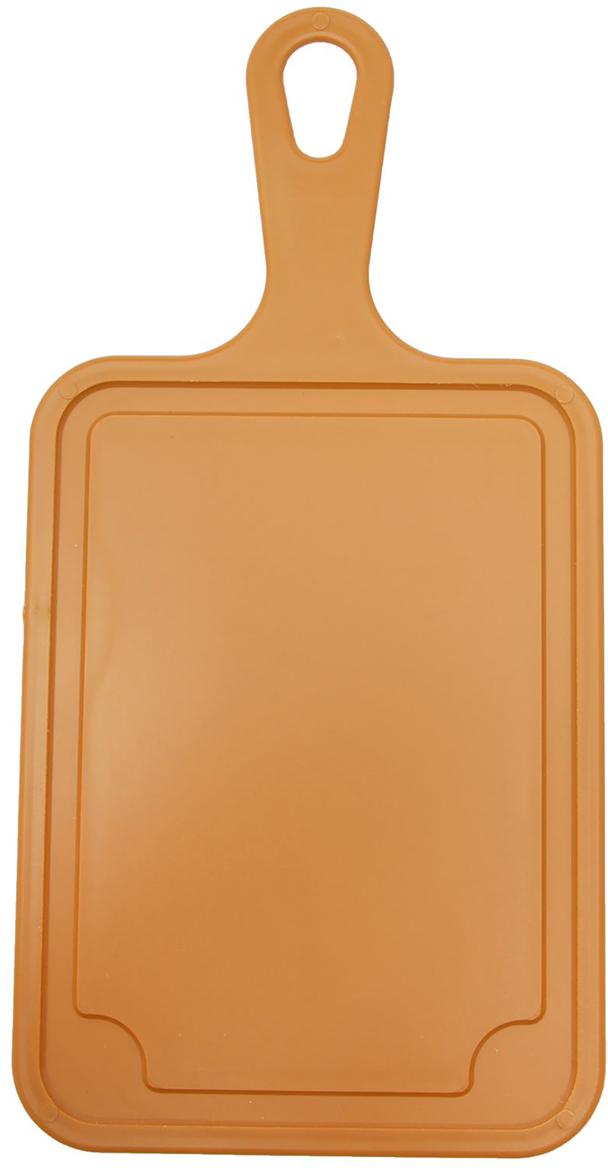Доска разделочная Комфорт Плюс, с ручкой, цвет: коричневый, 33 х 16,5 х 0,5 см2506249От качества посуды зависит не только вкус еды, но и здоровье человека. Доска— товар, соответствующий российским стандартам качества. Любой хозяйке будет приятно держать его в руках. С такой посудой и кухонной утварью приготовление еды и сервировка стола превратятся в настоящий праздник.