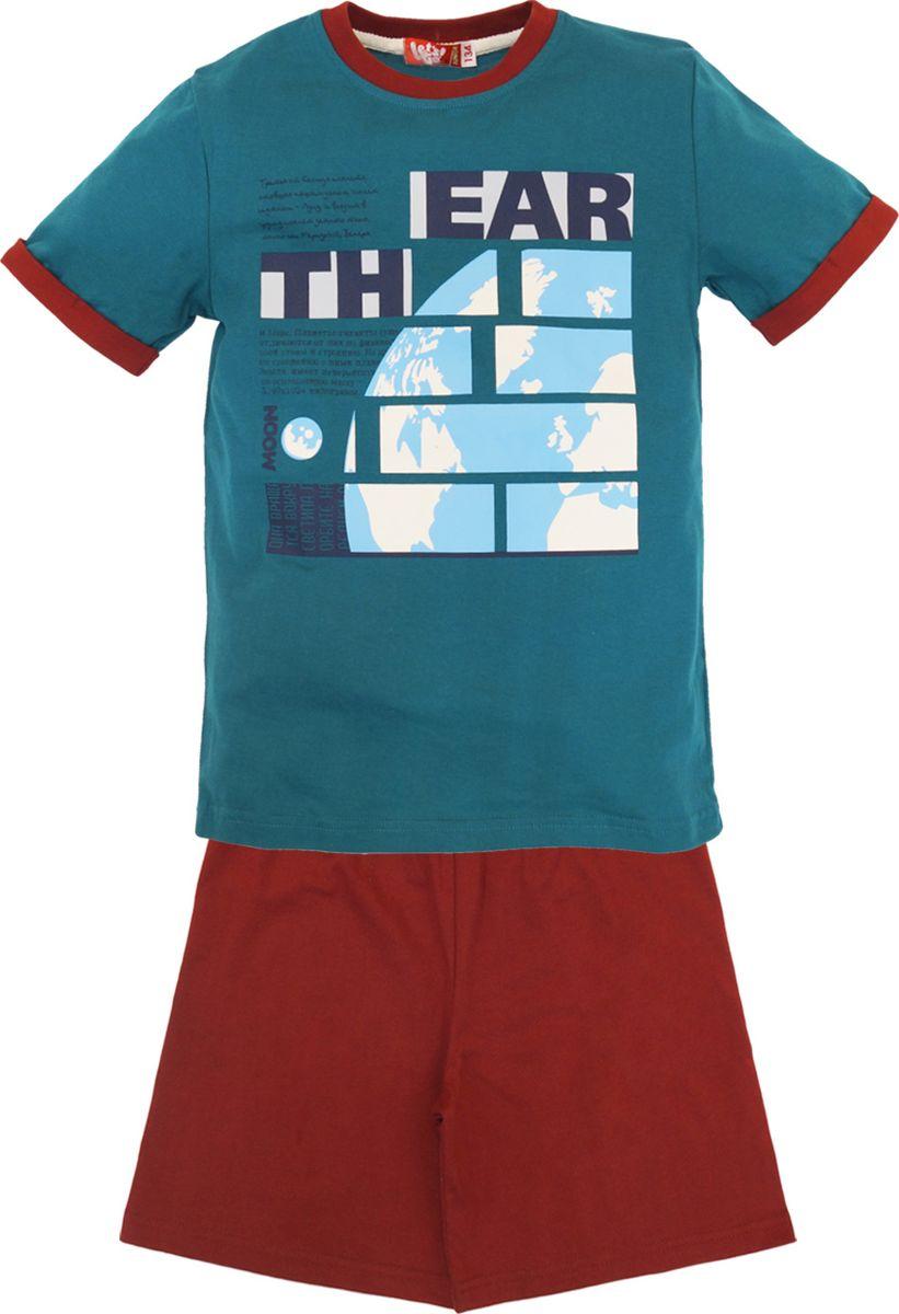 Пижама для мальчика Lets Go, цвет: изумрудный. 9244. Размер 1469244Уютная пижама для мальчика от Lets Go, состоящая из футболки и шорт, выполнена из мягкого хлопка. Футболка с короткими рукавами и круглым вырезом горловины оформлена принтом. Шорты с эластичной резинкой на талии не сдавливают животик ребенка и дарят комфорт при носке.