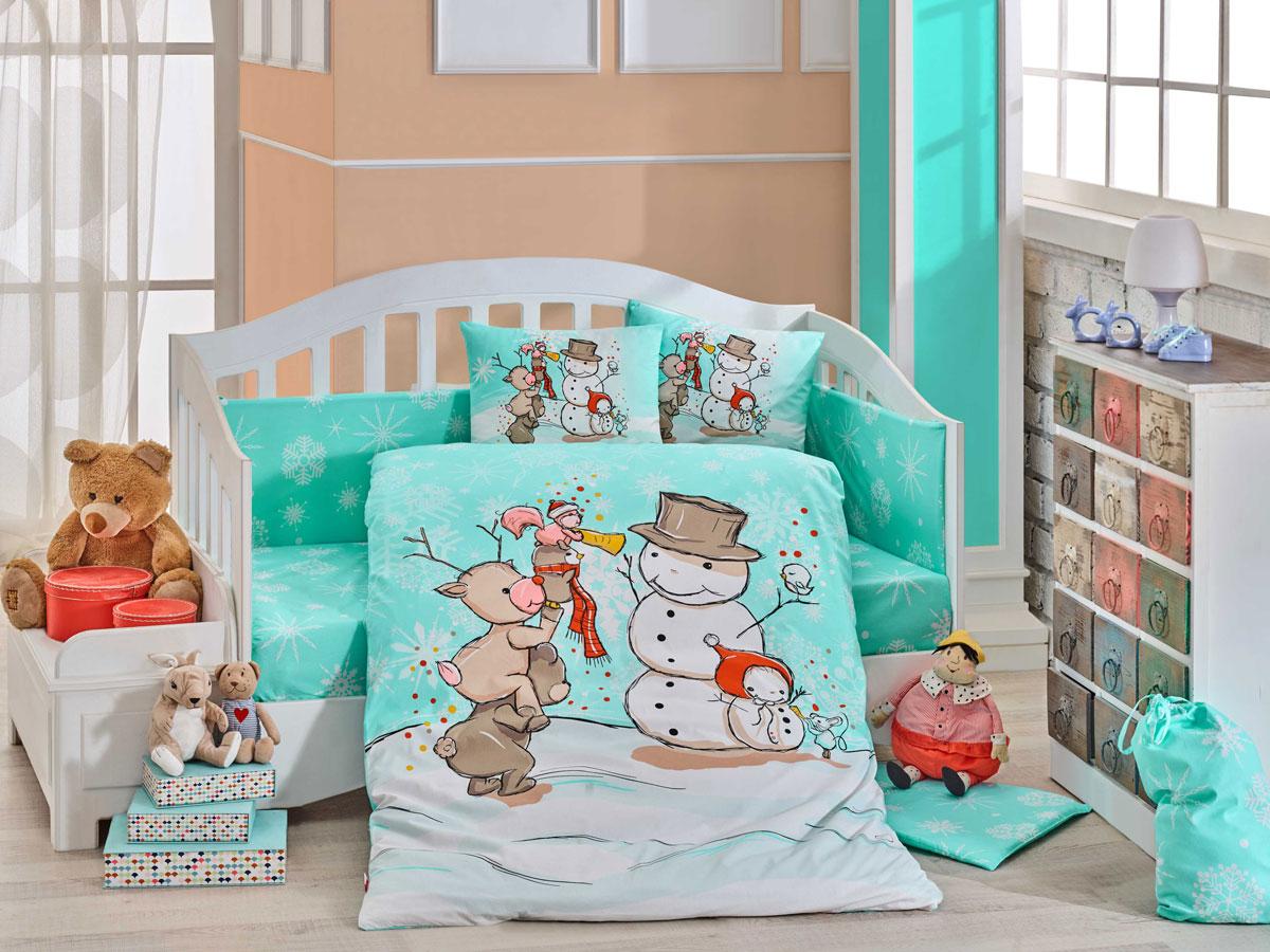 Комплект детского постельного белья Hobby Home Collection Snowball, наволочки 40x60, цвет: минт snowball