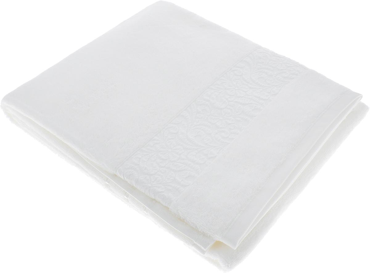 Полотенце Issimo Home Valencia, цвет: белый, 90 x 150 см00000005556Полотенца из бамбука только издали похожи на обычные. На самом деле, при первом же прикосновении Вы ощутите насколько эти полотенца мягкие и нежные! Таким полотенцем не нужно вытираться - только коснитесь кожи - и ткань сама все впитает! Такая ткань впитывает в 3 раза лучше, чем хлопок! Набор из маленьких полотенец-салфеток очень практичен – он станет незаменимым в дороге и в путешествиях. Кроме того, это хороший, красивый и изысканный сувенир для всех, кому хочется подарить подарок. Лицевые и банные полотенца выполнены в наиболее оптимальных размерах и плотности – несмотря на богатую плотность и высокую петлю полотенец, они быстро сохнут, остаются легкими даже при намокании. Коллекция бамбуковых полотенец имеет красивый жаккардовый бордюр, выполненный с орнаментом в цвет полотенец.