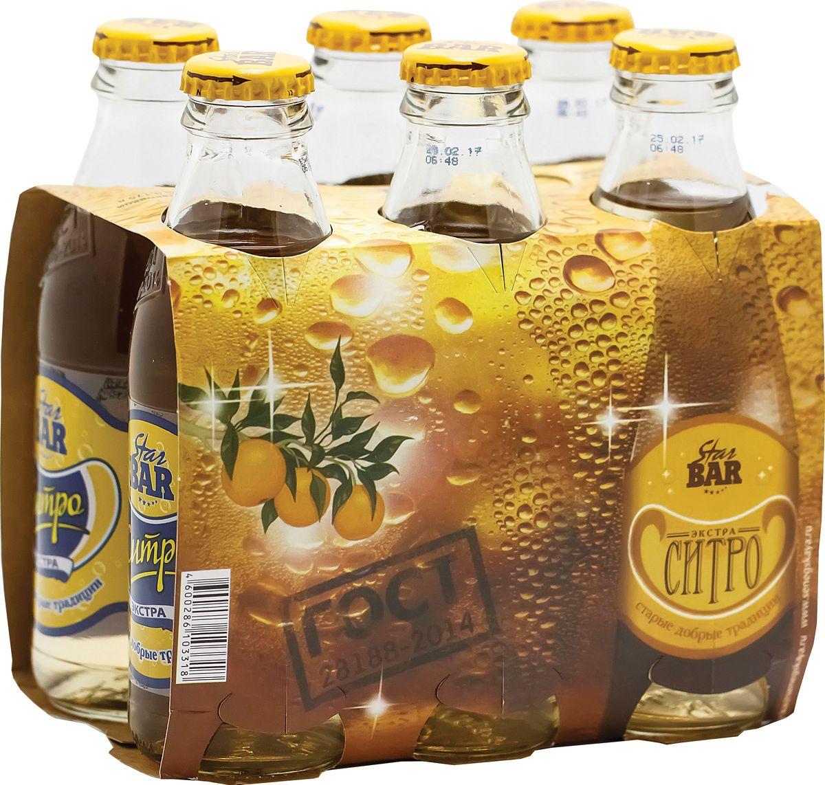 Star Bar Лимонад экстра-ситро, 6 шт по 0,175 л экстра ситро напиток безалкогольный сильногазированный 2 л