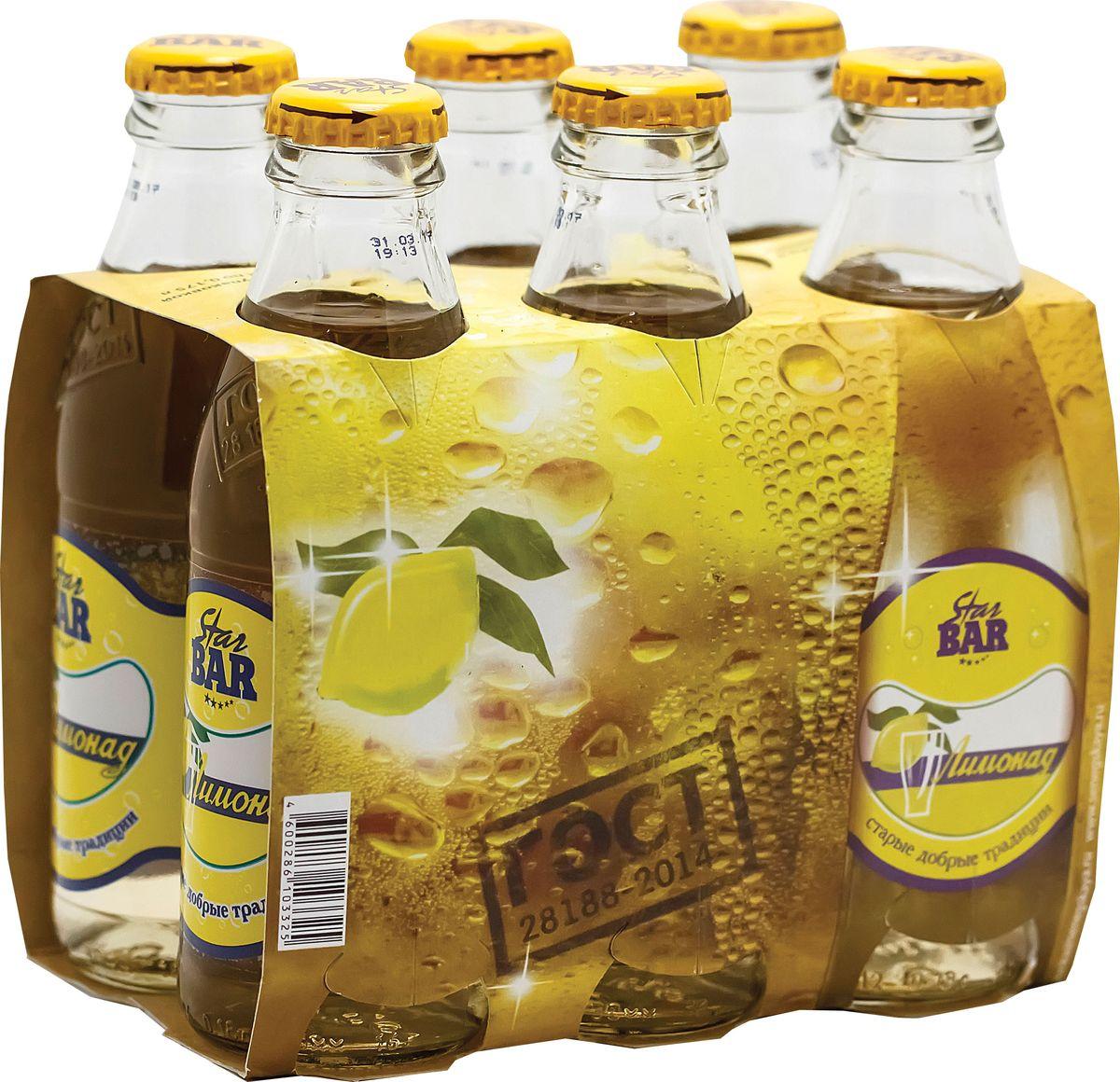 Star Bar Лимонад, 6 шт по 0,175 л старый источник газированный напиток любимый аромат лимонад стекло 0 5л