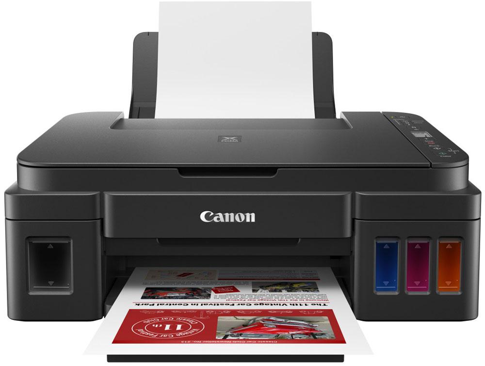 Canon Pixma G3410, Black МФУ2315C009Canon Pixma G3410 - компактное устройство Все в одном с поддержкой Wi-Fi и встроенными емкостями для чернил для экономичной домашней и офисной печати с мобильных устройств и облачных платформ.Наслаждайтесь значительной экономией средств с непревзойденным ресурсом и низкой стоимостью печати высококачественных документов и ярких фотографий на этом многофункциональном устройстве для дома и офиса, имеющем поддержку Wi-Fi и возможности простого подключения к мобильным устройствам и облачным платформам.Экономичная и производительная печать благодаря большим объемам — до 6000 страниц с контейнером для черных чернил или 7000 страниц с комплектом контейнеров для цветных чернил.Печатайте высококачественные материалы с помощью технологии Canon FINE и гибридной системы чернил: черные пигментные чернила обеспечат четкую печать документов, а цветные водорастворимые помогут напечатать яркие фотографии без полей формата до A4.Легко печатайте и сканируйте посредством беспроводного подключения к мобильным устройствам и облачным платформам с помощью приложения Canon PRINT (iOS и Android) со встроенной поддержкой PIXMA Cloud Link и Mopria (Android).Удобный выбор нескольких копий и проверка статуса сети Wi-Fi с помощью сегментного монохромного ЖК-экрана диагональю 1,2. Легко отслеживайте уровень оставшихся чернил во встроенных емкостях для чернил, расположенных на передней панели.Это компактное устройство Все в одном с функциями печати, копирования и сканирования легко справляется с большими объемами печати благодаря надежной системе чернил FINE. Идеально подходит для использования дома и в офисе.