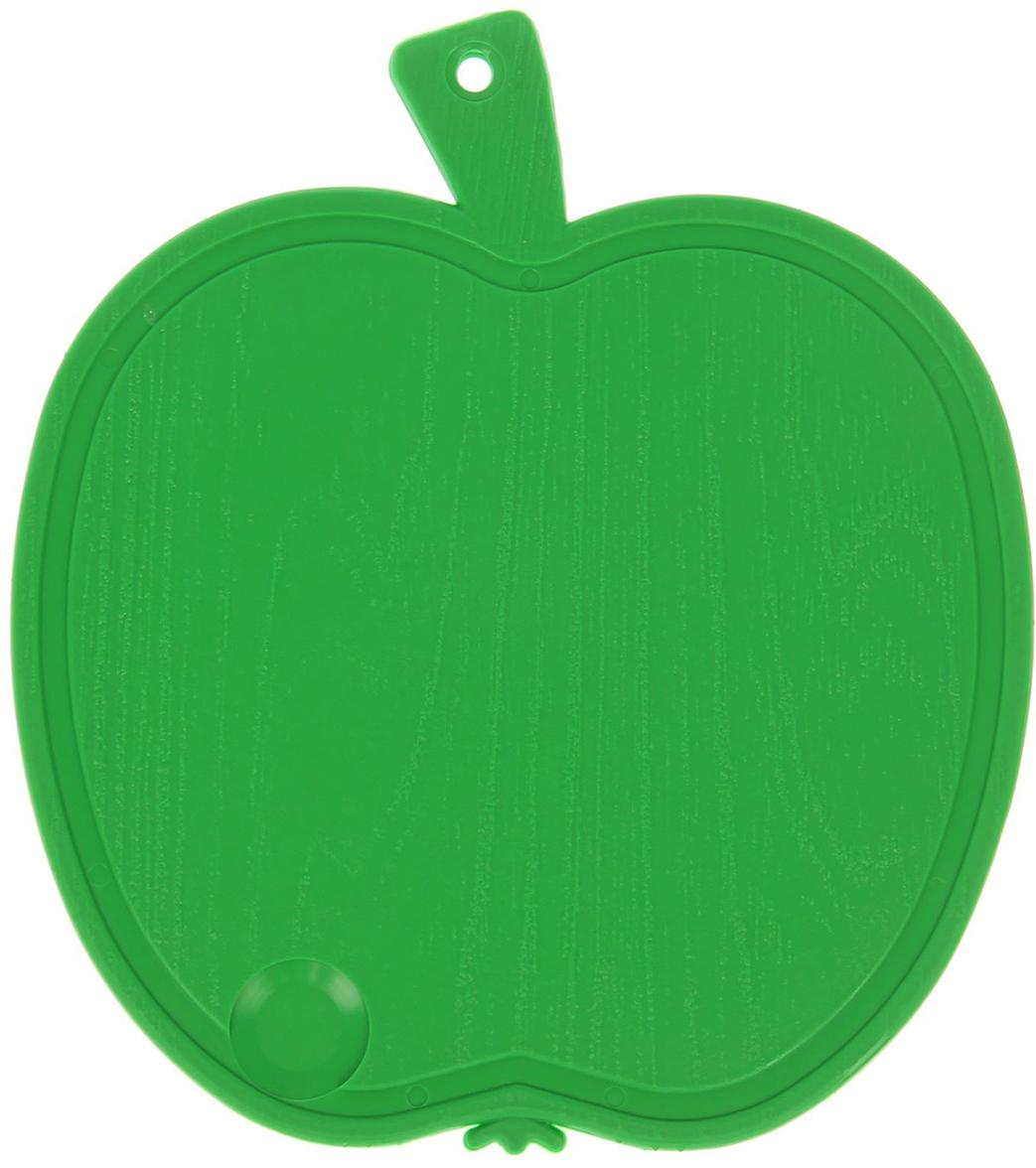 """Доска разделочная """"Яблоко"""", цвет: зеленый, 20,5 х 23 х 0,5 см"""