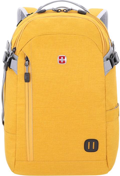 Рюкзак Wenger, цвет: желтый, 29 л3555247416Стильный Рюкзак Wenger изготовлен из полиэстера - очень надежной синтетической ткани, которая предотвращает попадание влаги.Рюкзак обладает рядом преимуществ: Отделение для ноутбука с мягкими стенками. Отделение с мягкими стенками подходит для большинства ноутбуков с диагональю экрана до 15. Карман с RFID- защитой Потайной боковой карман с RFID-технологией защищает паспорта, кредитные и идентификационные карточки от кражи личных данных. Основное отделение с сетчатыми карманами и фиксирующими ремнями Основное отделение на молнии с сетчатыми карманами и фиксирующими ремнями предназначено для хранения вещей и обуви. Система циркуляции воздуха AirFlow. Спинка рюкзака с системой циркуляции воздуха имеет специальную рельефную поверхность, обеспечивает удобное прилегание к спине и вентиляцию. Карман-органайзер для мелких предметов. Карман-органайзер включает в себя ключницу и многочисленные кармашки для ручек, мобильного телефона, документов и карты памяти. Стягивающие боковые ремни Стягивающие ремни позволяют регулировать объем рюкзака, а также ужимать багаж для более удобной транспортировки Плечевые ремни. Эргономичные плечевые ремни анатомической формы, оснащенные пропускающей воздух набивной подкладкой, обеспечивают максимальный комфорт при ношении рюкзака. Рукав для крепления к чемодану. Специальный рукав позволяет зафиксировать сумку на телескопической ручке чемодана для удобного перемещения нескольких предметов багажа. Карман для бутылок / зонта. Боковой карман подходит для хранения бутылок с водой и зонта.