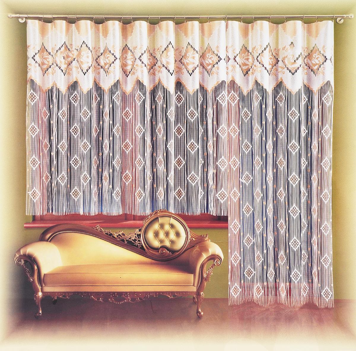 Комплект гардин Wisan Рамона, для балконной двери, на ленте, 2 шт715А+716А/кремовый