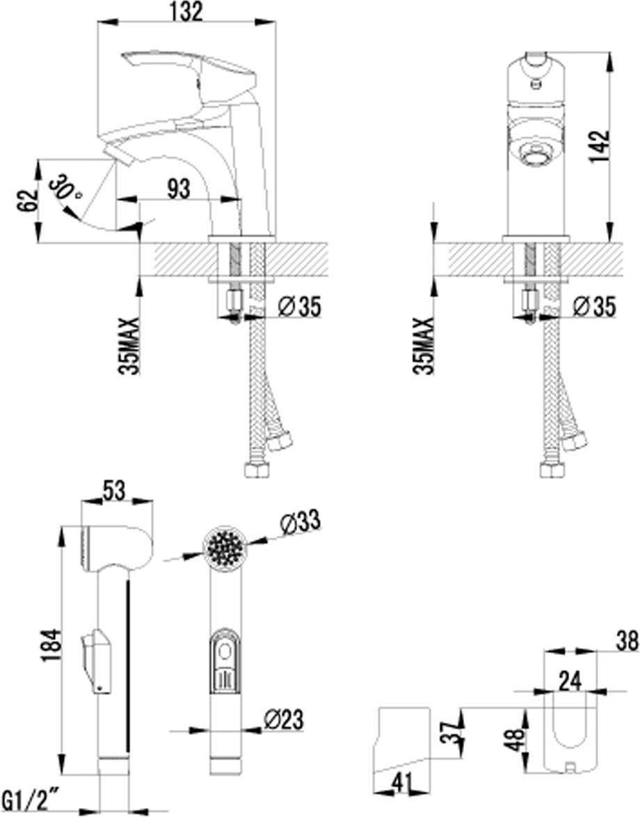 """Монолитный одноручный смеситель для умывальника и биде Lemark """"Plus Strike"""" изготовлен методом литья из высококачественной латуни с пониженным содержанием свинца. В качестве рабочего элемента используется картридж с керамическими пластинами диаметром 35 мм.Смеситель снабжен аэратором, который обеспечивает низкий уровень шума и делает струю воды равномерной и приятной на ощупь.Аксессуары в комплекте: лейка для биде с нажимным механизмом, шланг 1,5 м, настенное крепление для лейки.Шланг имеет повышенную прочность благодаря оплетке с двойным вальцеванием из нержавеющей стали, которая обеспечивает высокую сопротивляемость шланга на разрыв и излом.Лейка для биде изготовлена из пластмассы с высококачественным хром-никелевым покрытием, устойчивым к повреждениям (кроме механических повреждений), а материалы форсунок позволяют легко избавиться от известкового налета.Гибкая подводка снабжена латунными накидными гайками (d = 1/2""""), что обеспечивает ее прочное подсоединение к водопроводной системе.Смесители Lemark """"Plus Strike"""" адаптированы к низкому качеству российской водопроводной воды и максимально подходят под условия эксплуатации в нашей стране (жесткая вода, частые перепады температуры и напора воды).Длина шланга: 150 см. Длина гибкой подводки: 35 см.Керамический картридж: 35 мм."""