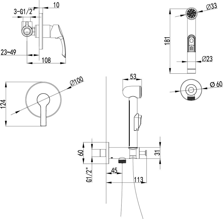 Серия PLUS STRIKE.Комплектация:Керамический картридж 25 ммПодключение для шланга с креплением для лейкиАксессуары в комплекте: лейка для биде с нажимным механизмом, шланг 1,5 мМеталлическая рукоятка