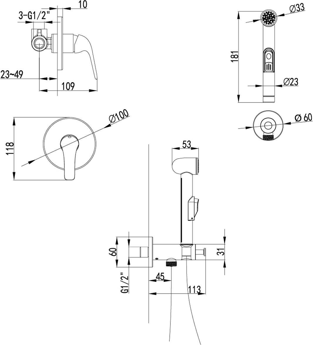 Серия PLUS ADVANCE.Комплектация:Керамический картридж 25 ммПодключение для шланга с креплением для лейкиАксессуары в комплекте: лейка для биде с нажимным механизмом, шланг 1,5 мМеталлическая рукоятка