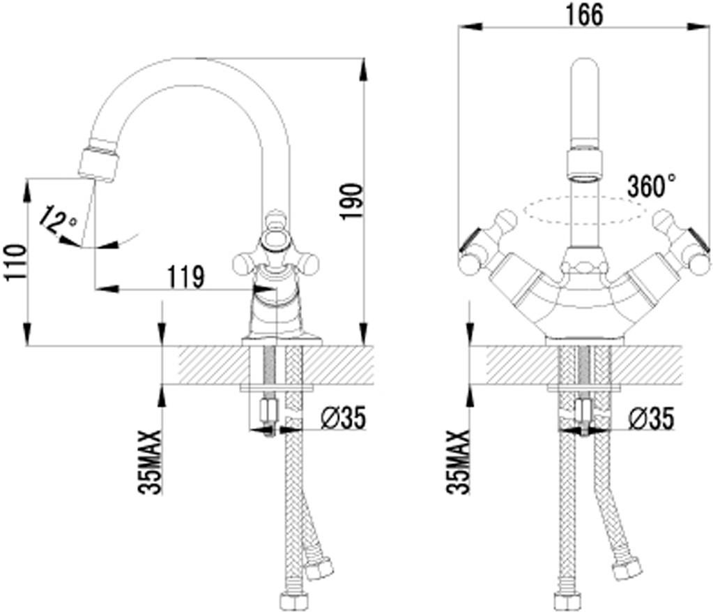 """Смеситель для умывальника с поворотным изливом. Аэратор Кран-буксы с керамическими пластинами (угол поворота – 180 градусов) Гибкая подводка 1/2"""" Металлические рукоятки Цвет изделия: хром"""