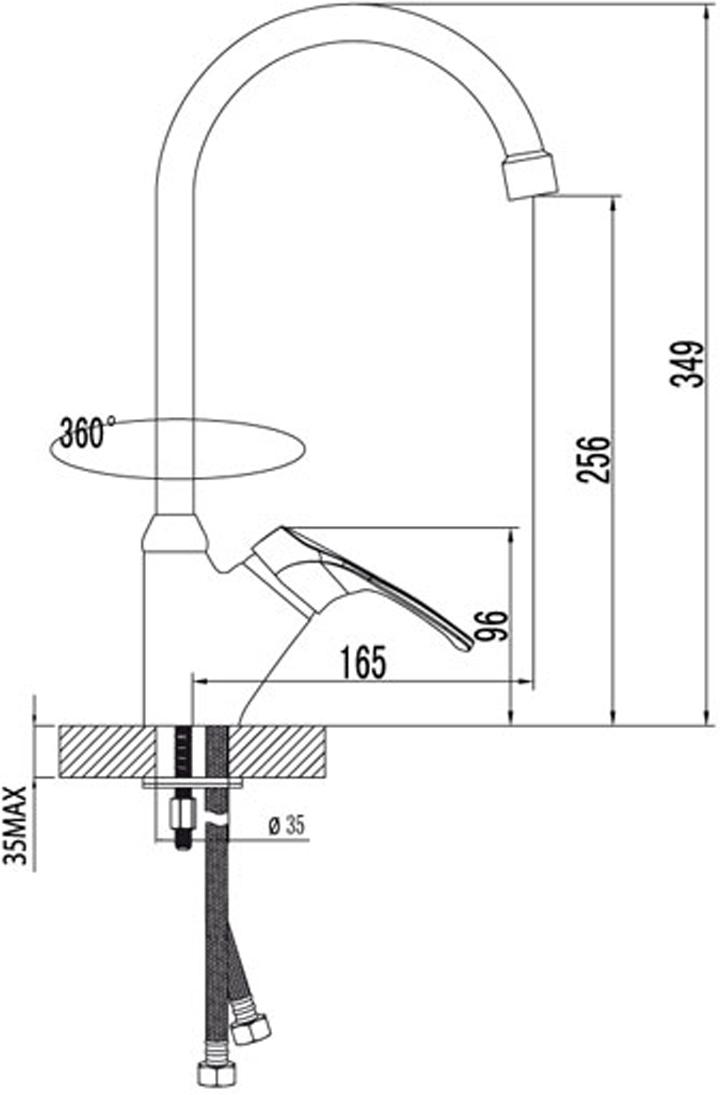 """Смеситель для кухни с высоким поворотным изливом. Керамический картридж 35 мм. SEDAL. Гибкая подводка 1/2"""". Аэратор NEOPERL-CASCADE. Металлическая рукоятка."""