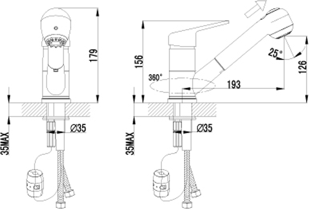 """Смеситель для кухни с вытягивающимся изливом. Эко-картридж Sedal 40 мм. Вытягивающаяся излив-лейка 2-х функциональная с аэратором NEOPERL-CASCADE и гибким шлангом 1,5 м. Гибкая подводка 1/2"""". Металлическая рукоятка."""