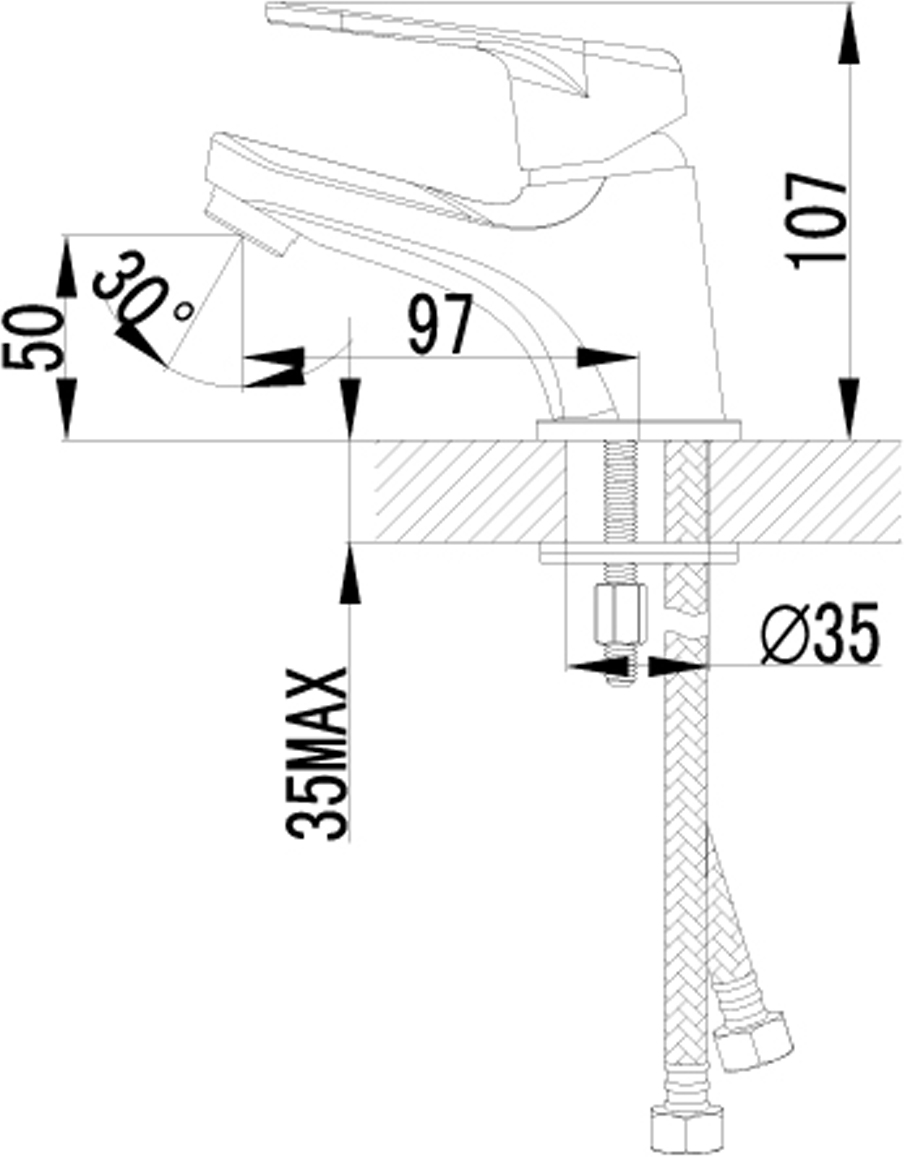 """Смеситель для умывальника монолитный Аэратор NEOPERL-CASCADE Керамический картридж 35 мм Гибкая подводка 1/2"""" 40 см Металлическая рукоятка"""