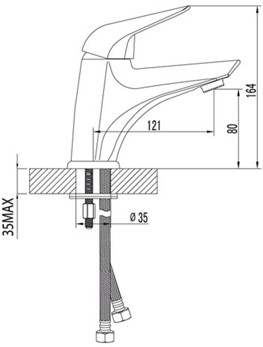 """Смеситель для умывальника монолитный. Эко-картридж Sedal 40 мм. Гибкая подводка 1/2"""". Аэратор NEOPERL-CASCADE. Металлическая рукоятка."""