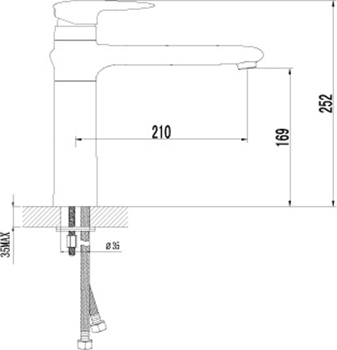 """Смеситель для кухни с поворотным изливом Аэратор NEOPERL-CASCADE Керамический картридж 40 мм. SEDAL Гибкая подводка 1/2"""" 35 см Металлическая рукоятка"""