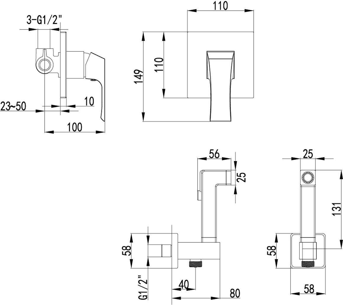 Серия UNIT - это совершенство изгибов и гармония граней.Комплектация:Эко-картридж 35 ммПодключение для шланга с креплением для лейкиАксессуары в комплекте: лейка для биде с нажимным механизмом, шланг 1,5 мМеталлическая рукоятка