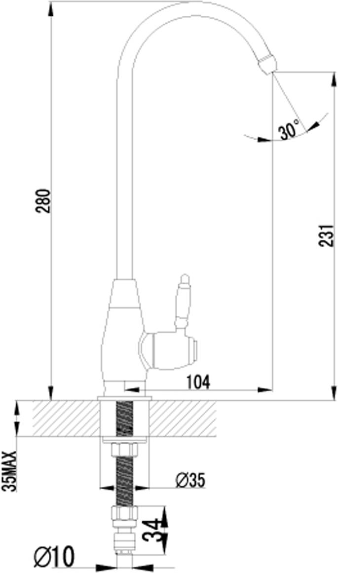 Кран предназначен для питьевой воды.Характеристики:  Кран-букса с керамическими пластинами (угол поворота - 90 градусов). Переходник для подключения шланга от фильтра с питьевой водой. Металлическая рукоятка гарантийных мастерских по России и странам СНГ.
