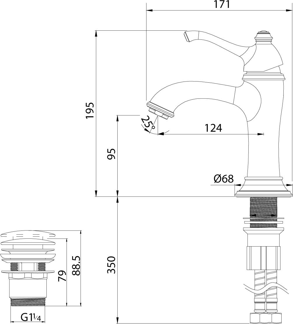 """Серия GREEK.Комплектация:АэраторКерамический картридж 35 ммГибкая подводка 1/2"""" 45 см Донный клапан Click/Clack 1?"""" в цвет смесителяМеталлическая рукоятка"""