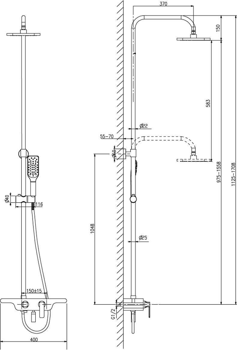 """Смеситель для ванны и душа с регулируемой высотой штанги, поворотным изливом и верхней душевой лейкой """"Тропический дождь"""". Аэратор. Керамический картридж 35 мм. Трехпозиционный картриджный переключатель. Верхняя поворотная душевая лейка """"Тропический дождь"""" 255 х 190 мм. Регулируемое по высоте крепление для лейки. 1-функциональная лейка 58 х 103 мм. Душевой шланг 1,5 м, стальная оплетка с двойным загибом. Металлическая рукоятка."""