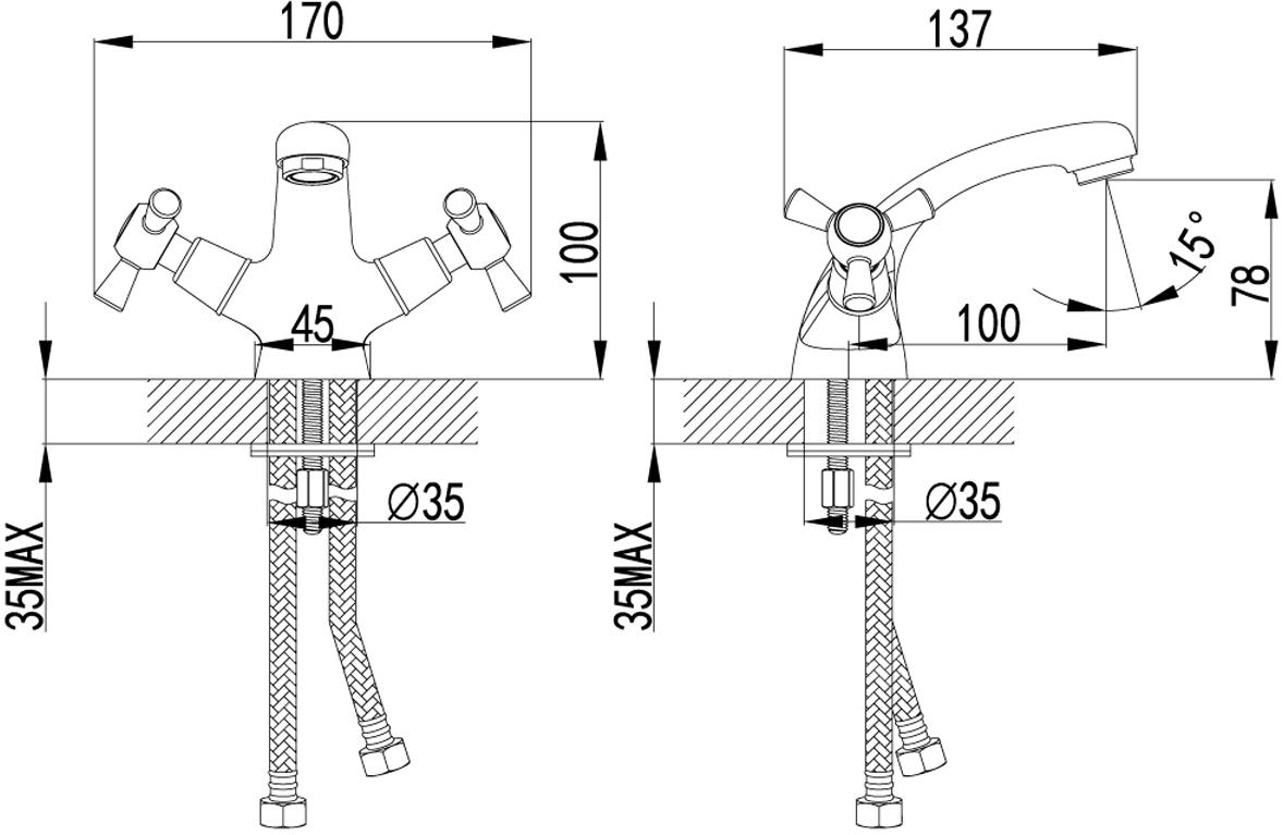 """Серия CONTOUR.Комплектация:АэраторКран-буксы с керамическими пластинами (угол поворота – 90 градусов)Гибкая подводка 1/2"""" 35 смМеталлические рукоятки"""