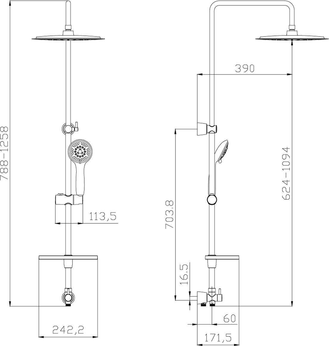 """Душевой гарнитур с регулируемой высотой штанги и верхней душевой лейкой """"Тропический дождь"""" 5-функциональная душевая лейка (диаметр 120 мм) Верхняя поворотная душевая лейка """"Тропический дождь"""" (диаметр 300 мм) Переключатель с керамическими пластинами Регулируемое по высоте крепление для лейки Регулируемая по высоте мыльница Душевой шланг 1,5 м (стальной, оплетка с двойным загибом) Шланг 0,8 м для подключения к смесителю (стальной, оплетка с двойным загибом)"""