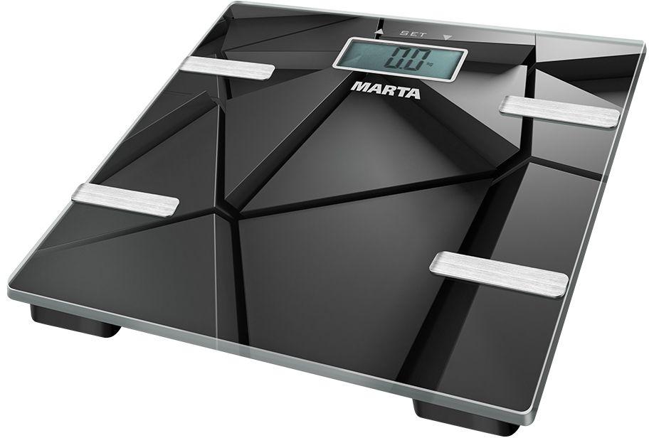 Marta MT-1675, Black весы напольные29663стекло, ЖК дисплей, память на 12 пользователей, измерение уровня жира %, жидкости %, мышечной и костной массы (кг), max 180 кг, индикатор перегрузки/замены батареи, автоотключение, 2 батарейки 1,5V типа ААА (входят в комплект)