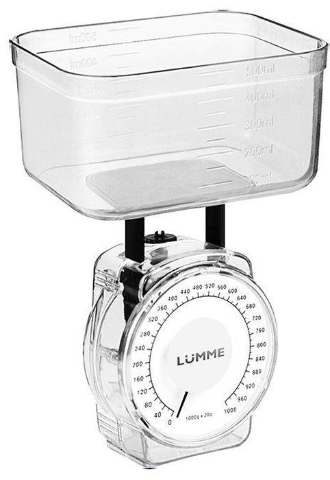Lumme LU-1301, White весы кухонные30331механические, 1 кг цена деления 20 г, шкала измерения объема жидких веществ