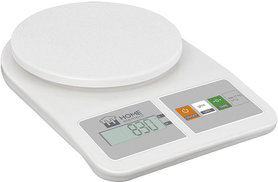 Home Element HE-SC930, White весы кухонные33535Макс.вес 7 кг. Цена деления: 1 г, пластиковый корпус, LCD Дисплей, Функция Тара, Индикатор перегрузки/замены батареи. Авто отключение. Ед.измерения г/унция, 2 батареи 1.5 Вольт AA (в комплекте)