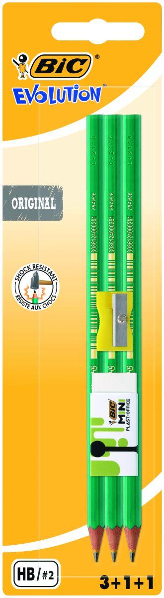 Bic Карандаш чернографитовый Evolution 650 с точилкой и ластиком 3 шт bic набор чернографитных карандашей evolution с ластиком 4 шт