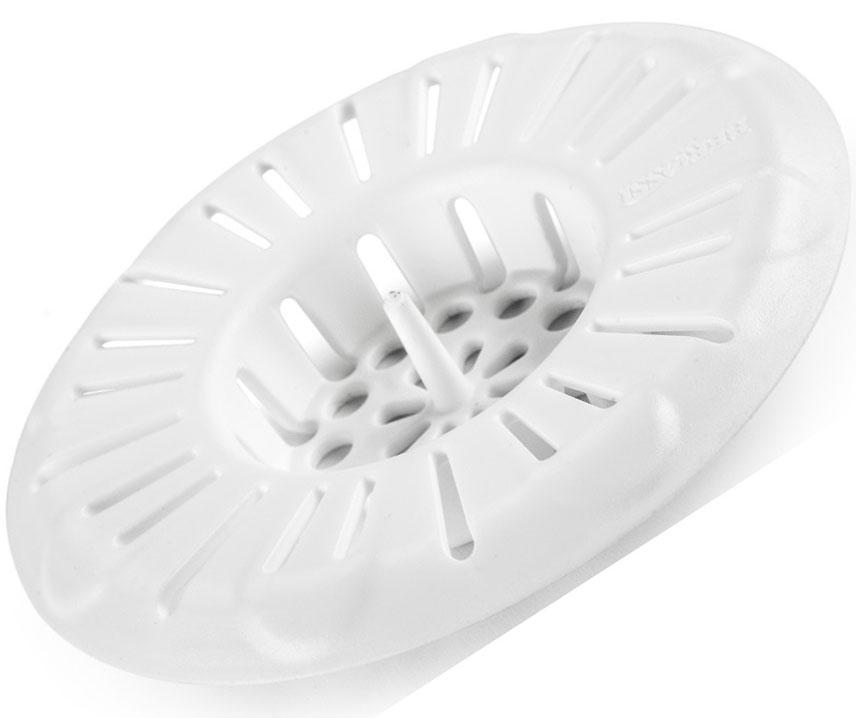 Фильтр для раковины (снежно-белый), 79 х 15 мм., пластик. За штырек в центре удобно доставать изделие для промывания.Несколько видов отверстий разных размеров для качественной фильтрации воды.Плотно прижимается к сливному отверстию.Оптимальный диаметр (8 см), подходящий для большинства раковин.Можно мыть в посудомоечной машине.