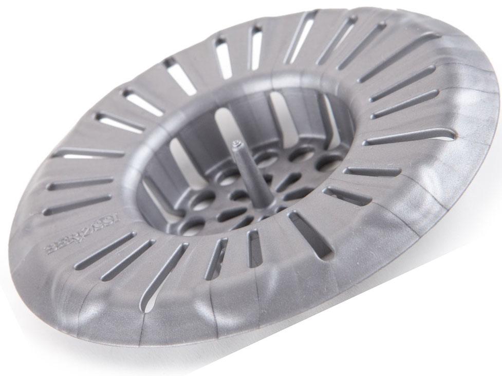 Фильтр для раковины (металлик), 79 х 15 мм., пластик. За штырек в центре удобно доставать изделие для промывания.Несколько видов отверстий разных размеров для качественной фильтрации воды.Плотно прижимается к сливному отверстию.Оптимальный диаметр (8 см), подходящий для большинства раковин.Можно мыть в посудомоечной машине.