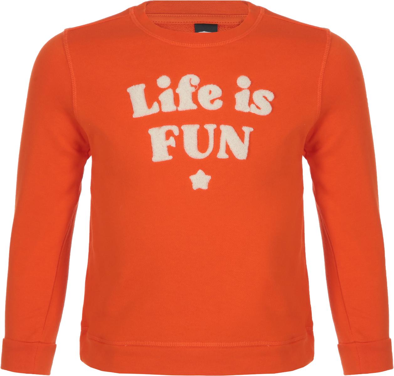 Джемпер для мальчика Sela, цвет: оранжевый. St-713/094-8112. Размер 116St-713/094-8112
