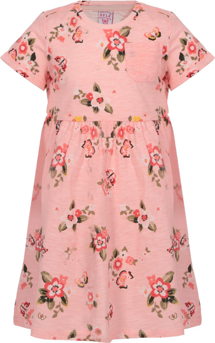 Платье для девочки Sela, цвет: розовый. Dks-517/420-8122. Размер 98Dks-517/420-8122Платье для девочки Sela выполнено из натурального хлопка. Модель с круглым вырезом горловины и короткими рукавами оформлена оригинальным принтом.