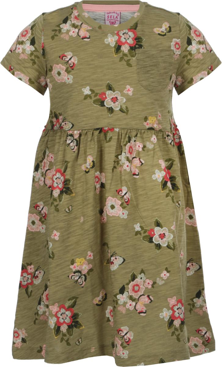 Платье для девочки Sela, цвет: оливковый. Dks-517/420-8122. Размер 110Dks-517/420-8122