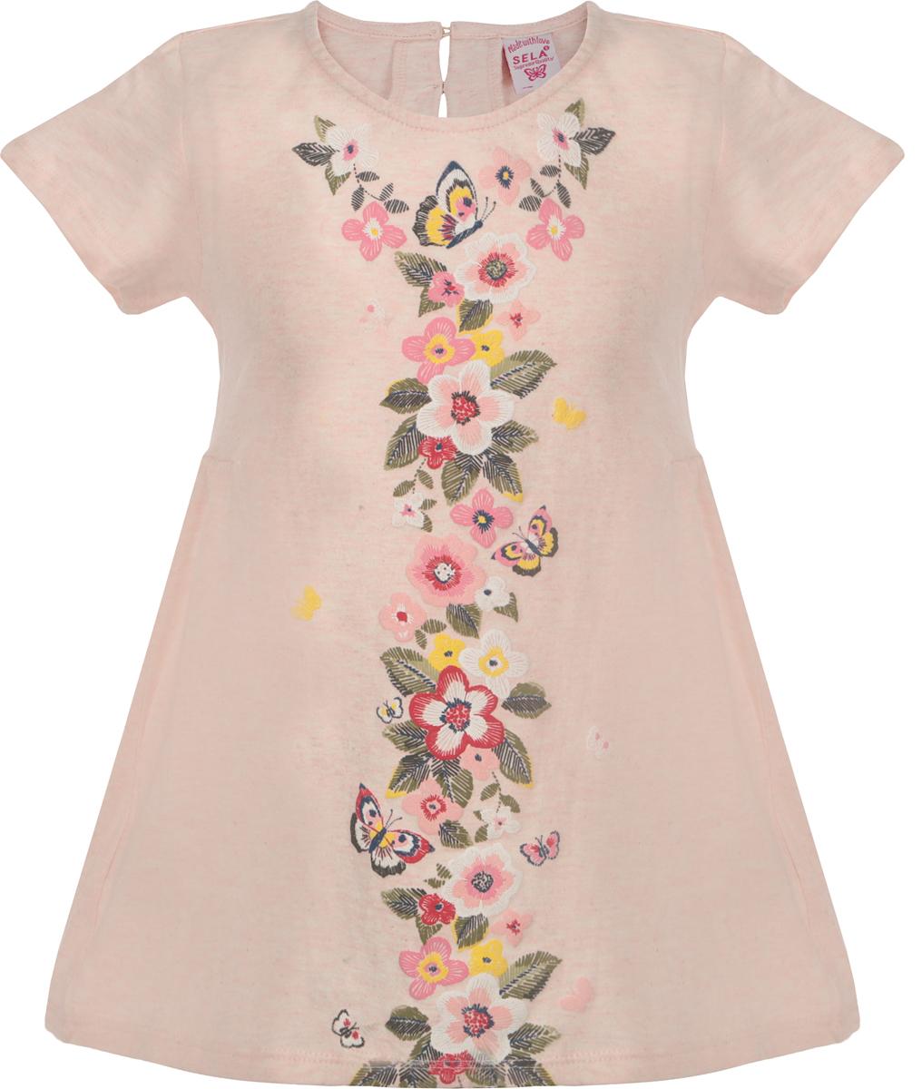 Блузка для девочки Sela, цвет: розовый кварц меланж. TsBK-511/477-8122. Размер 110, 5 лет