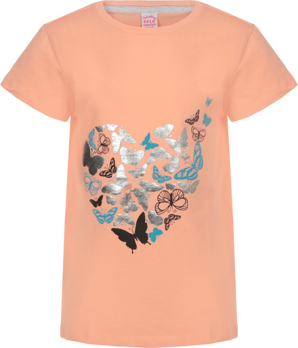 Футболка для девочки Sela, цвет: персиковый нектар. Ts-611/1206-8263. Размер 128, 8 летTs-611/1206-8263Футболка для девочки Sela выполнена из натурального хлопка. Модель с круглым вырезом горловины и короткими рукавами оформлена оригинальным принтом.