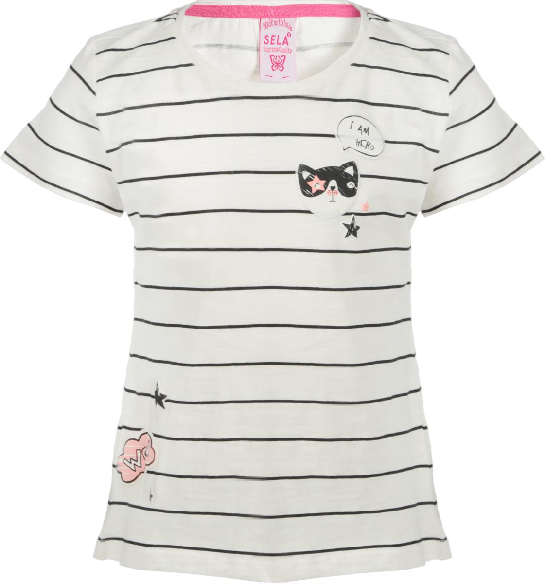 Футболка для девочки Sela, цвет: белый. Ts-511/468-8121. Размер 116 футболка для девочки sela цвет молочный белый ts 511 476 8122 размер 116 6 лет