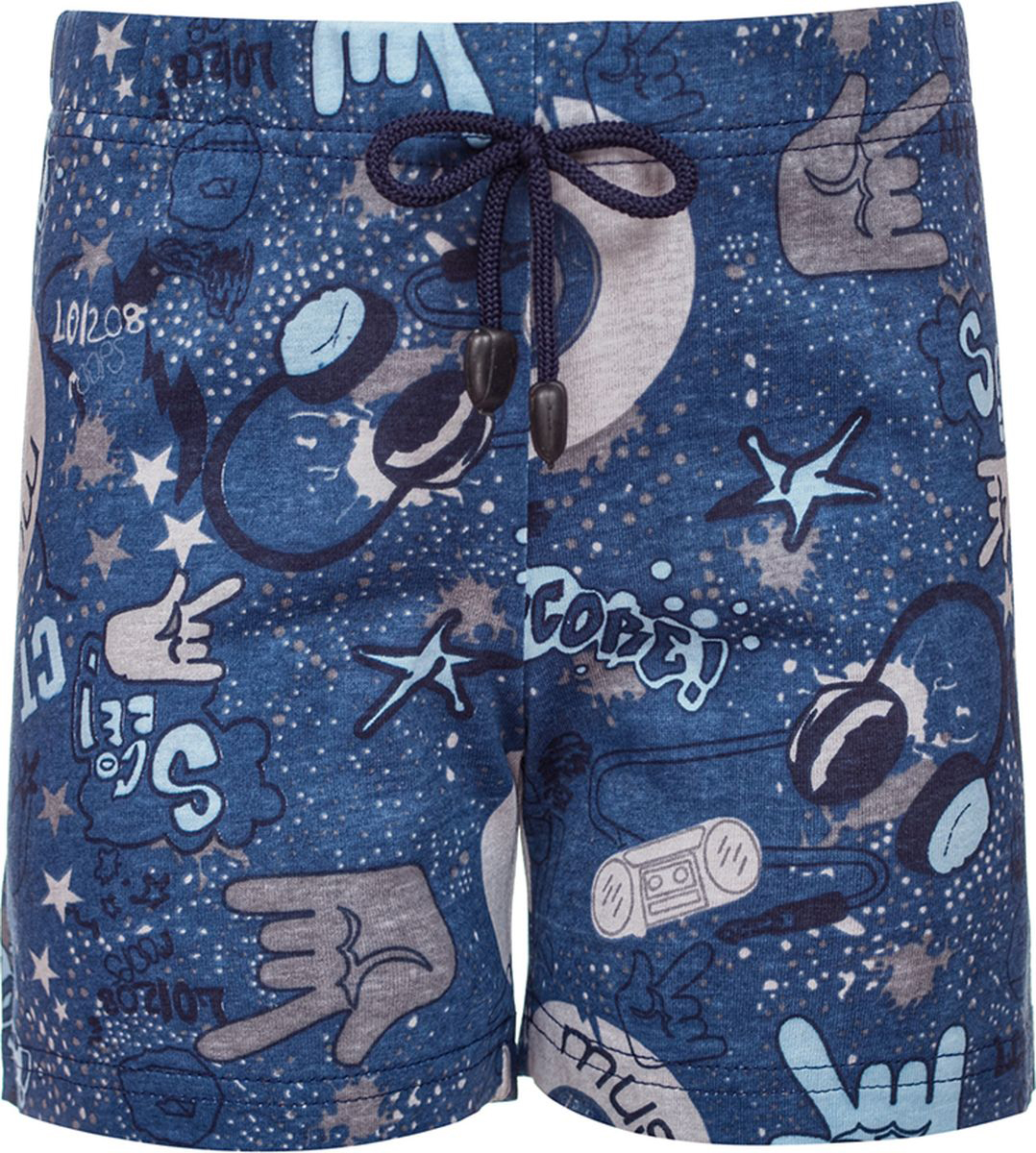 Шорты для мальчика M&D, цвет: серо-голубой. 182170402_76. Размер 116182170402_76Шорты для мальчика от M&D из набивного трикотажного полотна, короткие, прямого силуэта. Пояс на резинке, с декоративным шнурком - имитация завязки.