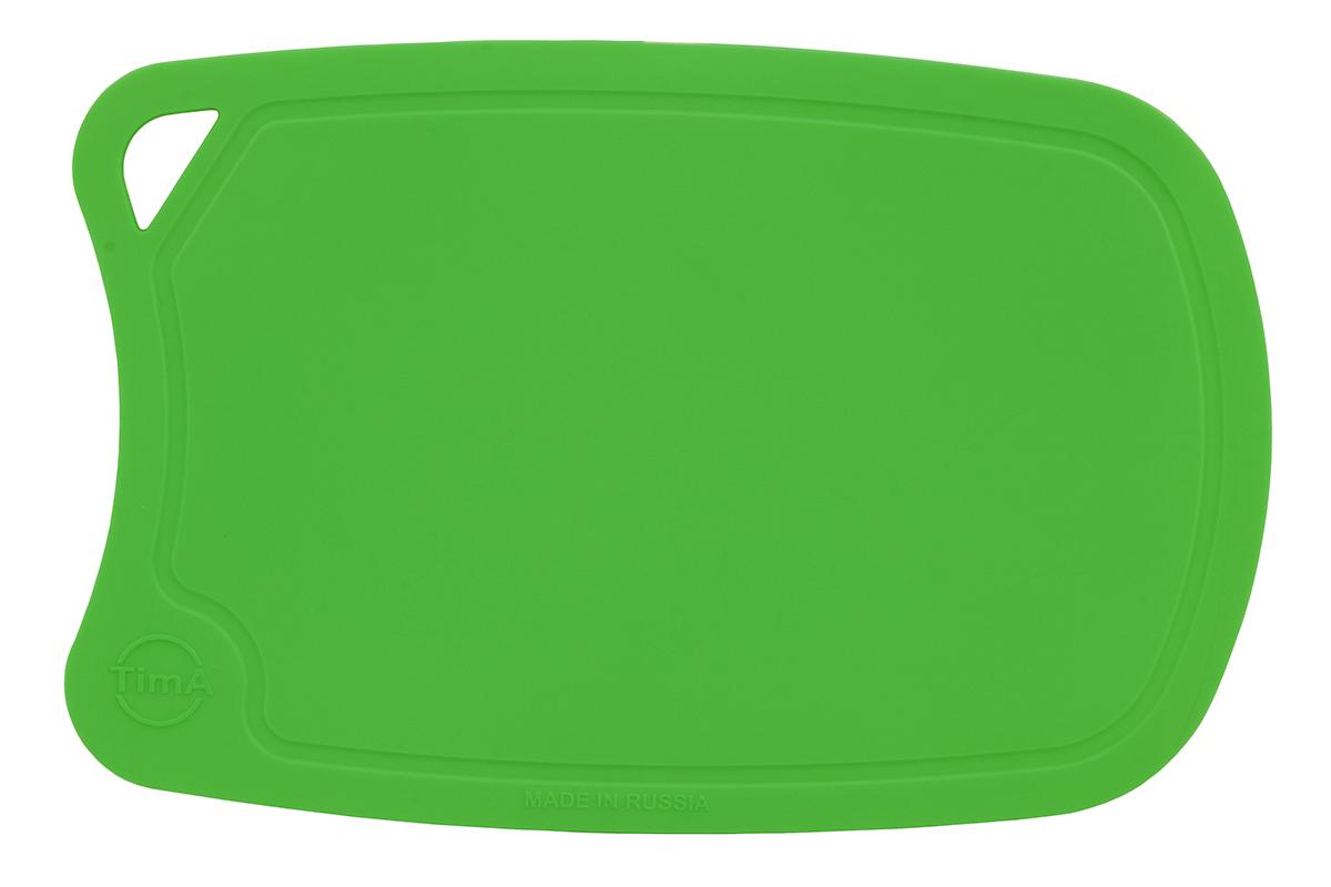 """Разделочная доска """"TimA"""", изготовленная из высококачественного полиуретана, обладает уникальными свойствами и по своим характеристикам превосходит разделочные доски из любых других материалов.  Доска из полиуретана не вступает в химическую реакцию с продуктами. Не выделяет никаких веществ. Препятствует развитию болезнетворных микроорганизмов. Не тупит керамические и металлические ножи.Доска плотно прилегает к любой поверхности стола или столешницы, не скользит. При работе с острым ножом это очень важно в плане безопасности. По краю доски проходит небольшой желоб, который предохраняет от растекания жидкости (например, сок фруктов и овощей).  Благодаря исключительным свойствам полиуретана, срок службы такой доски значительно выше, чем досок из дерева и пластика. Единственные ограничения для досок из полиуретана – не использовать их как подложку для рубки мяса или подставку под горячее.  Доска абсолютно не впитывают влагу и запахи продуктов, легко очищается от жира и грязи. Благодаря отсутствию пористости полиуретана, болезнетворные микроорганизмы (бактерии, грибки плесени) и запахи легко удаляются с поверхности, в отличие от деревянных разделочных досок."""
