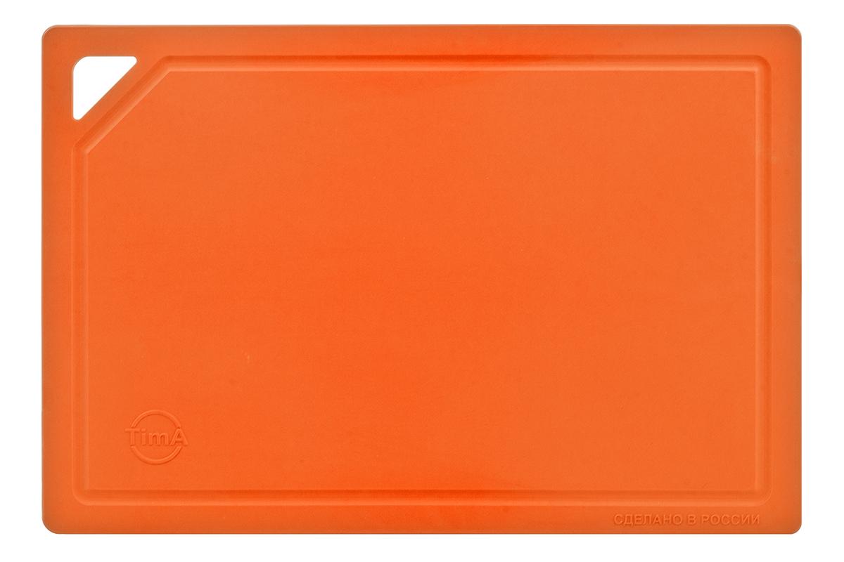 Доска разделочная TimA, цвет: оранжевый, 31 х 21 х 0,3 смДРГ-3022_ОранжевыйРазделочная доска TimA, изготовленная из высококачественного полиуретана, обладает уникальными свойствами и по своим характеристикам превосходит разделочные доски из любых других материалов.Доска из полиуретана не вступает в химическую реакцию с продуктами. Не выделяет никаких веществ. Препятствует развитию болезнетворных микроорганизмов. Не тупит керамические и металлические ножи.Доска плотно прилегает к любой поверхности стола или столешницы, не скользит. При работе с острым ножом это очень важно в плане безопасности. По краю доски проходит небольшой желоб, который предохраняет от растекания жидкости (например, сок фруктов и овощей).Благодаря исключительным свойствам полиуретана, срок службы такой доски значительно выше, чем досок из дерева и пластика. Единственные ограничения для досок из полиуретана – не использовать их как подложку для рубки мяса или подставку под горячее.Доска абсолютно не впитывают влагу и запахи продуктов, легко очищается от жира и грязи. Благодаря отсутствию пористости полиуретана, болезнетворные микроорганизмы (бактерии, грибки плесени) и запахи легко удаляются с поверхности, в отличие от деревянных разделочных досок.