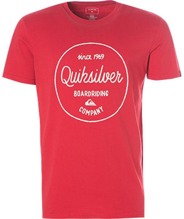 Футболка мужская Quiksilver, цвет: красный. EQYZT04774-RRD0. Размер M (48)EQYZT04774-RRD0Мужская футболка от Quiksilver выполнена из хлопка. Модель с круглым вырезом горловины и короткими рукавами оформлена спереди оригинальным принтом.