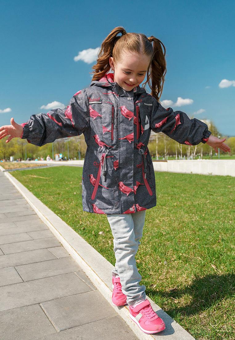 Куртка для девочки Oldos Active Рэйна, цвет: серый, малиновый. 3A8JK09. Размер 140, 10 лет куртка для девочки oldos active одри цвет коралловый темно серый 2a8jk06 размер 140 10 лет