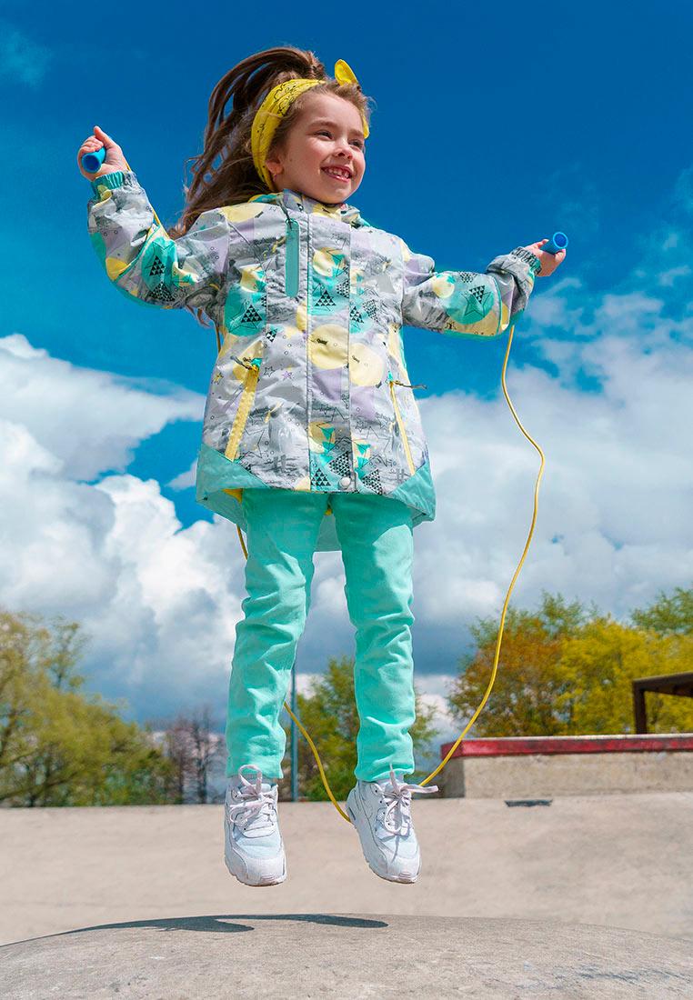 Куртка для девочки Oldos Active Сафира, цвет: светло-серый, ментоловый. 3A8JK11. Размер 140, 10 лет куртка для девочки oldos active одри цвет коралловый темно серый 2a8jk06 размер 140 10 лет