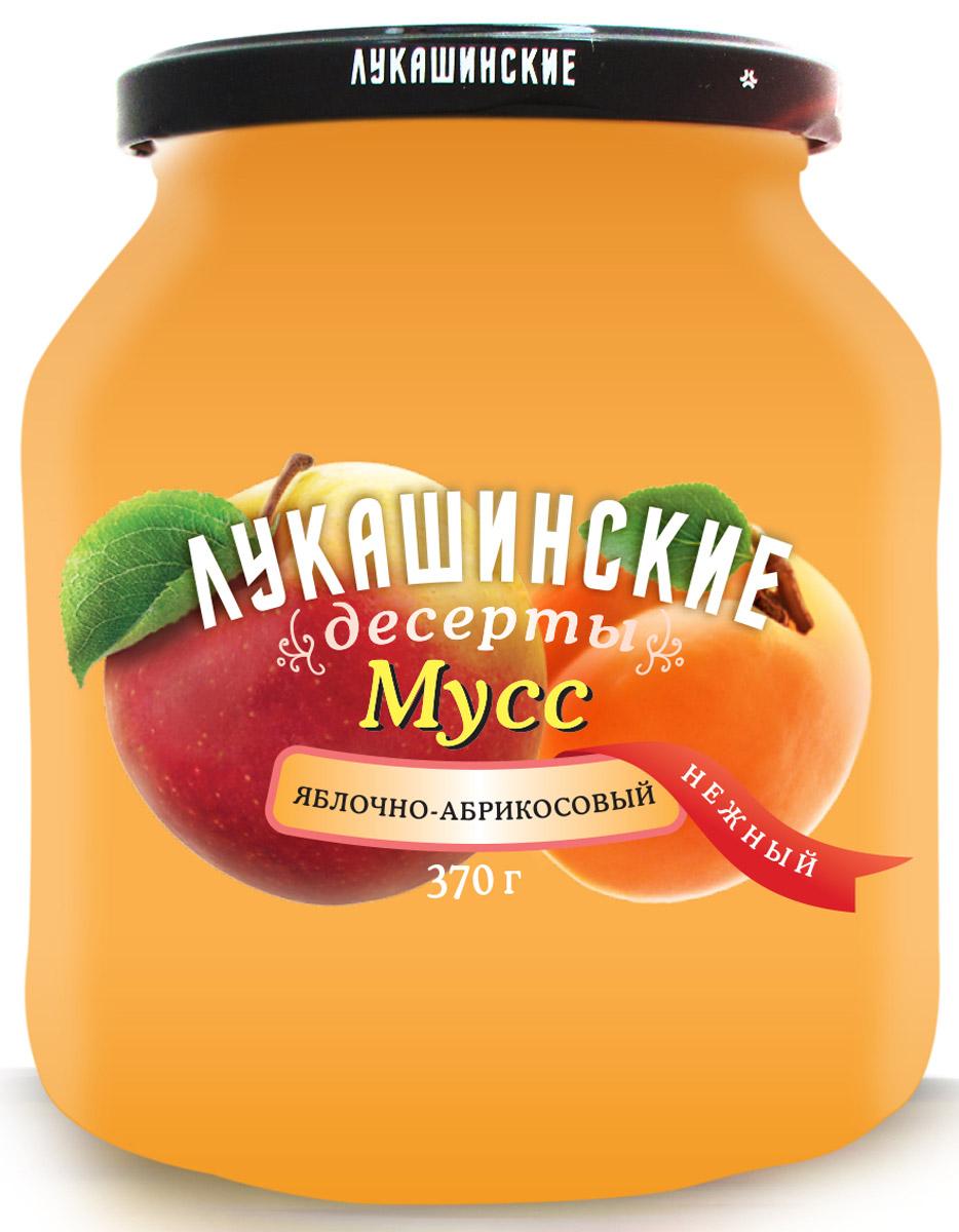 Лукашинские Мусс яблочно-абрикосовый нежный, 370 г мусс haas шоколадный 65 г