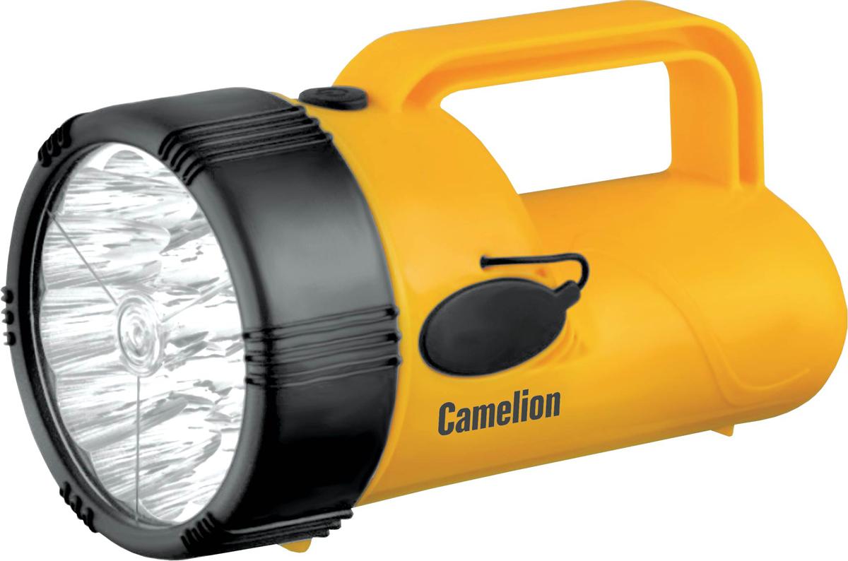 Фонарь ручной Camelion LED29314, цвет: желтый, черный10471Фонарь Camelion электрический светодиодный аккумуляторный. Цвет корпуса - желтый с черным. Материал корпуса - пластик. Источник света - 19 светодиодов с цветовой температурой 8200К, максимальным световым потоком 48 люмен. Дистанция освещения - до 30 метров. Выключатель - кнопочного типа. Время работы при полностью заряженном аккумуляторе: до 12 часов . Время заряда - 16 часов. Дополнительные возможности - режим аварийного включения при выключении сетевого электричества во время заряда. Комплектация: фонарь, свинцово-кислотный аккумулятор с напряжением 4 В емкостью 2,2 А-ч, светодиодный индикатор заряда, сетевой кабель 220 вольт для заряда, инструкция, упаковка. Степень пылевлагозащиты IP22. Упаковка - коробка. Максимальный линейный размер фонаря 17 см. Размер упаковки 10 см X 10,5 см x 18 см. Вес без упаковки 0,58 кг. Вес с упаковкой 0,67 кг