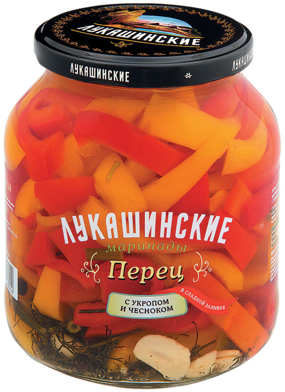 Лукашинские Перец в сладкой заливке с зеленью и чесноком, 670 г палочки кружале с укропом 120г