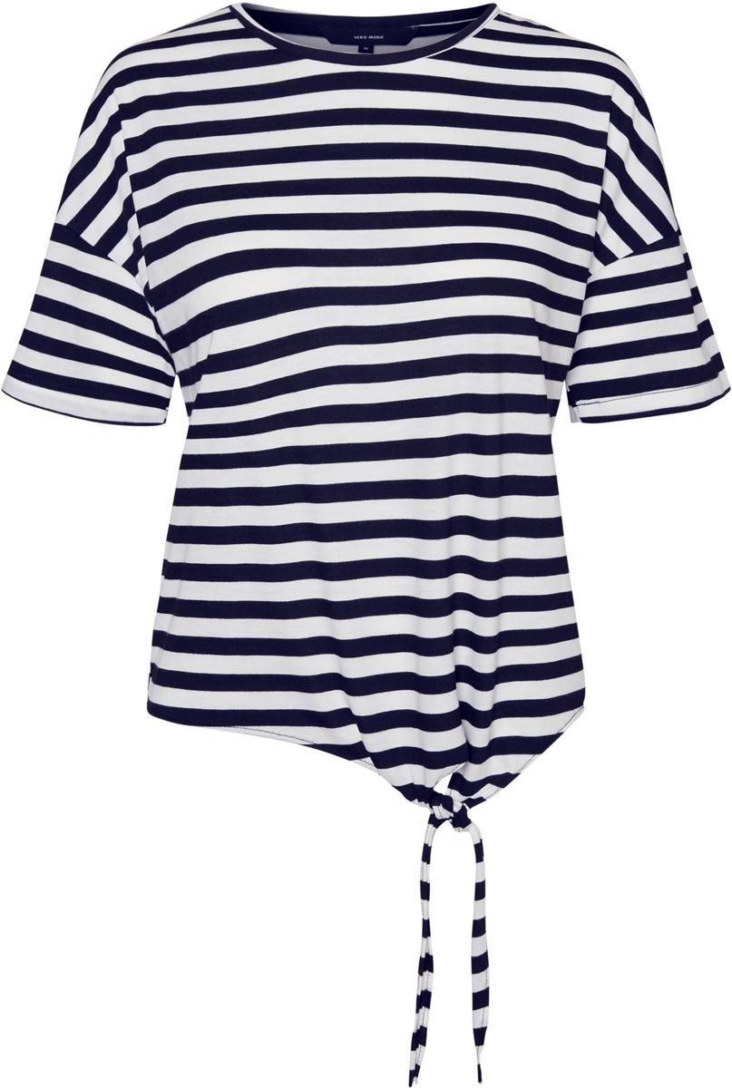 Блузка женская Vero Moda, цвет: синий. 10193576. Размер XL (52)10193576Блузка от Vero Moda выполнена из вискозного трикотажа. Модель с короткими рукавами со спущенным плечом и круглым вырезом горловины по низу дополнена декоративными завязками.
