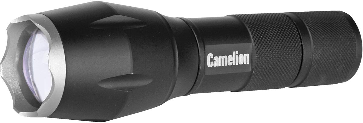 Фонарь Camelion электрический светодиодный. Цвет корпуса - матовый черный. Работает от батареек 3xLR03 (входят в комплект) или от аккумулятора 18650 (не входит в комплект). Материал корпуса - алюминиевый сплав 6061 / Т6 с анодированным защитным покрытием. Источник света - 1 светодиод CREE XML-T6 с потребляемой мощностью 10 Вт с цветовой температурой 6500К, максимальный световой поток 500 люмен. Дистанция освещения при максимальной фокусировке светового луча- до 400 метров. Пять режимов работы - 100% / 50% / 20% / МИГАЮЩИЙ режим / SOS. Выключатель - пятипозиционный кнопочного типа (с защитной резиновой накладкой) в задней части фонаря. Время работы при использовании алкалиновых батареек: 100% мощности - до 4 часов, 50% мощности - до 6 часов, 20% мощности - до 15 часов, мигающий режим - до 48 часов; SOS - до 14 часов. Переменный фокус, регулируемый сдвигом передней части фонаря. Комплектация: фонарь, ремешок для переноски, батарейки 3 x LR03 Camelion Plus Alkaline, инструкция, упаковка. Степень пылевлагозащиты IP65. Упаковка: открывающийся двойной блистер. Максимальный линейный размер фонаря 13,6 см. Размер упаковки 6 см X 12 см x 26 см. Вес без упаковки 0,183 кг. Вес в упаковке 0,258 кг