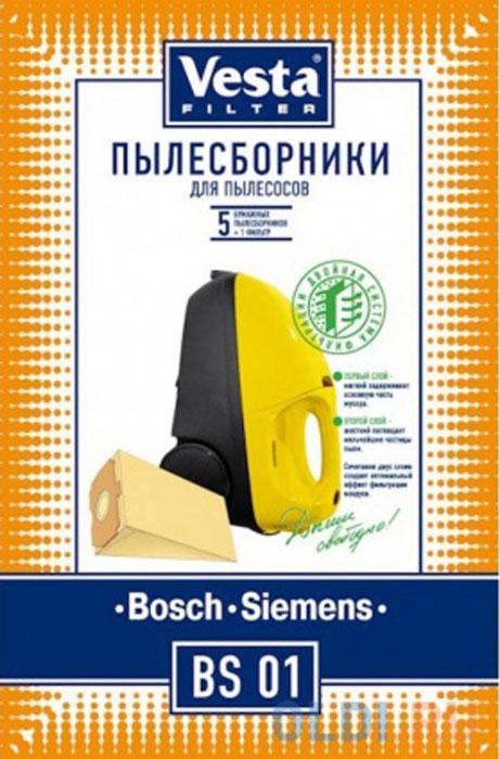 Vesta filter BS 01 комплект пылесборников, 5 шт + фильтр topperr bs 3 фильтр для пылесосов bosch siemens 4 шт