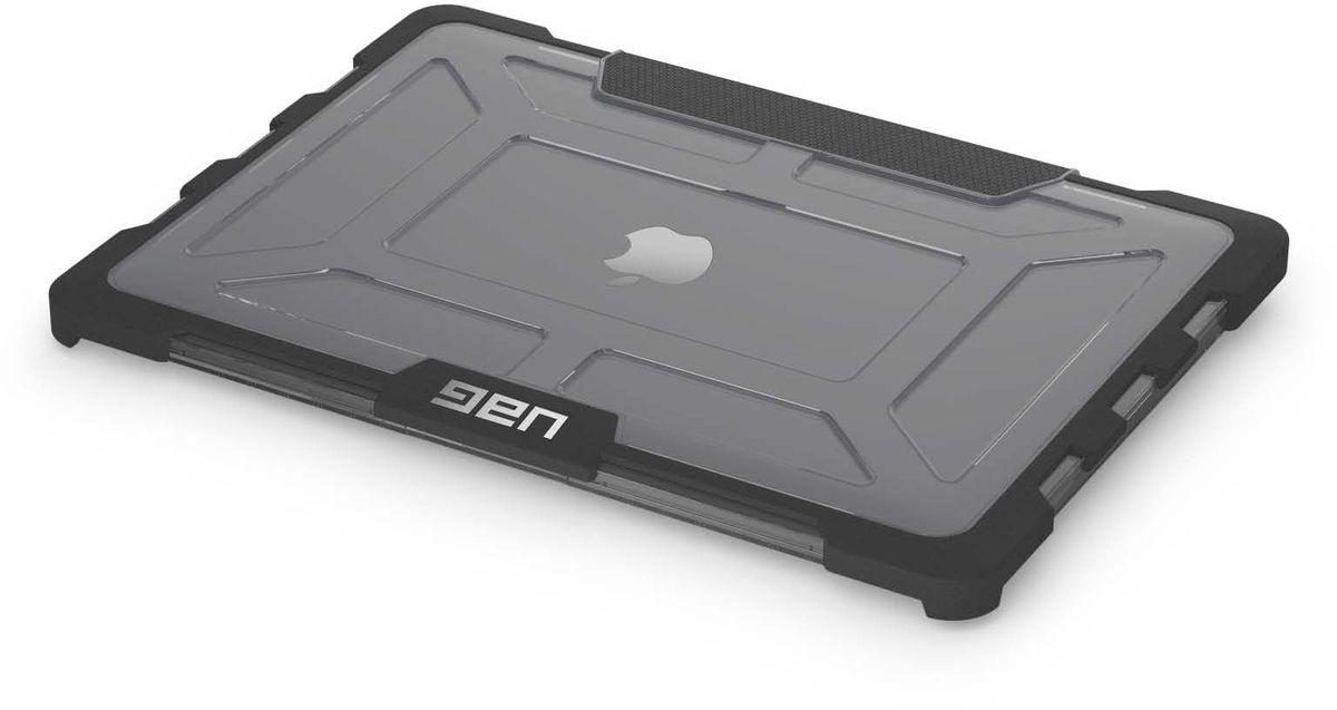 UAG защитный чехол для Apple MacBook Pro 13 Retina, Dark GreyUAG-MBP13-A1502-ASHСпециальный защитный чехол надежно защитит ваш Macbook.Основу конструкции составляет прочный пластик, который защищает от царапин и потертостей. Внутренний слой прорезинен, он амортизирует практически любые удары. Небольшие бортики по всему периметру, уменьшают урон от соприкосновений с твердой поверхностью. Аксессуар имеет вентиляционные отверстия для беспрепятственной циркуляции воздуха, а также двойной замок для безопасного закрытия Macbook. Отличительные особенности:- Подходит для Apple Macbook Pro 13 дюймов с дисплеем Retina (3-го поколения)- Броневые и ударные бамперы- Двойное закрытие блокировки экрана- Рифленый захват- Отвечает военным стандартам испытаний на падение (MIL STD 810G 516.6)- Не подходит для модели конца 2016 года с Touch Bar
